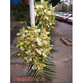 Lumanari nunta curgatoare din orhidee si frezii