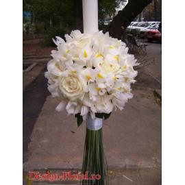 Lumanari de nunta glob iris alb si trandafiri