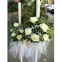 Lumanari nunta clasice trandafiri si frunze exotice