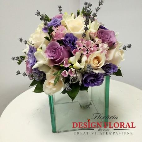 Buchet Mireasa Lavanda Si Trandafiri Floraria Design Floral