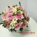 Buchet cununie trandafiri roz pal