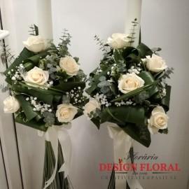 Lumanari nunta trandafiri si eucalipt