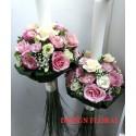 Lumanari nunta trandafiriri si lisianthus