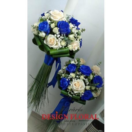 Lumanari nunta trandafiri albastrii
