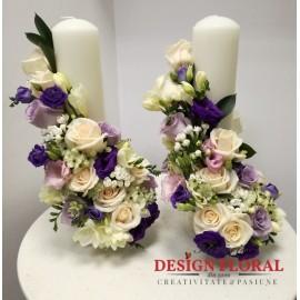 Lumanari nunta scurte bouvardia si trandafiri
