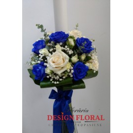 Lumanare botez trandafiri albastrii si minirose