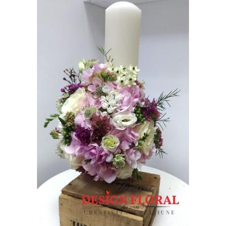 Lumanare Botez Scurta Hortensie Si Frezii Floraria Design Floral