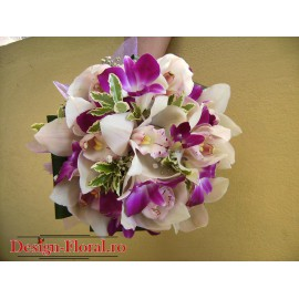 Buchet mireasa rotund din orhidee