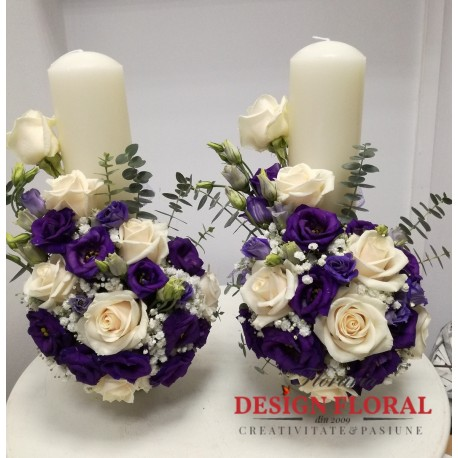 Lumanari nunta scurte lisianthus mov