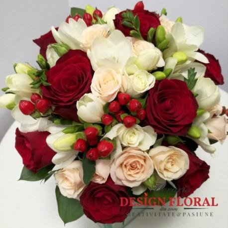Buchet cununie minirose si trandafiri