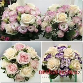 Pachet de nunta trandafiri si lisianthus