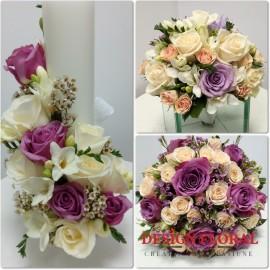 Pachet de nunta minirose si trandafiri