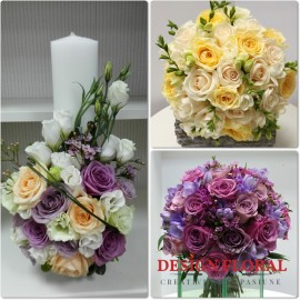 Pachet de nunta frezii si trandafiri