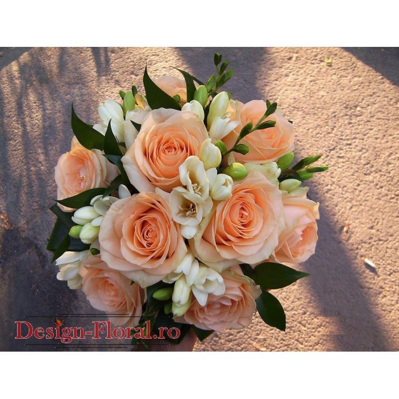 Buchet Mireasa Trandafiri Si Frezii Floraria Design Floral
