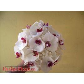 Buchet mireasa Phalaenopsis si Hortensie