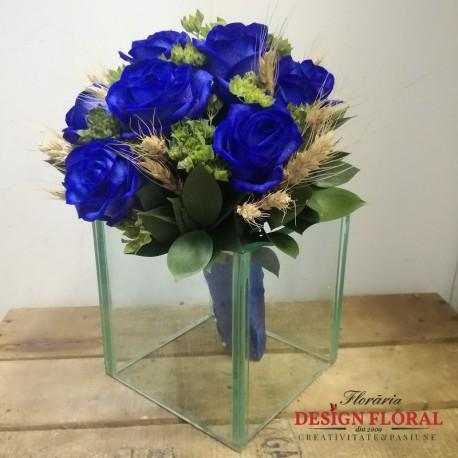 Buchet de cununie trandafiri albastrii