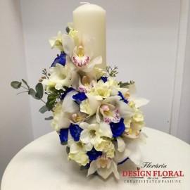 Lumanare botez orhidee si minirose albastre