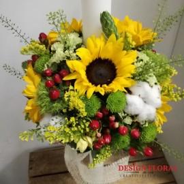 Lumanare de botez floarea soarelui si bumbac
