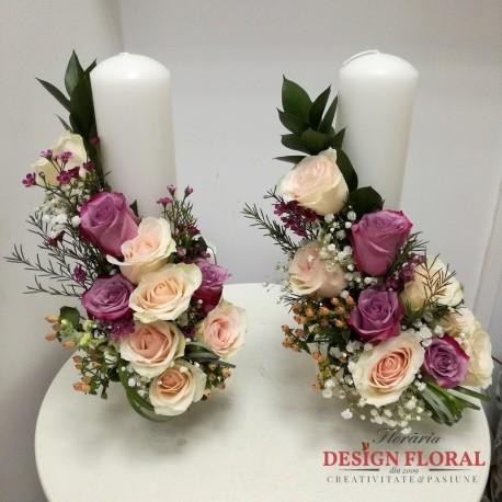 Lumanari nunta scurte trandafiri