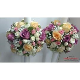 Lumanari nunta glob trandafiri
