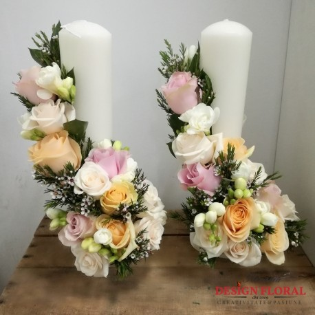 Lumanari nunta pastelate