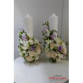 Lumanari nunta trandafiri crem si lila