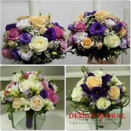 Pachet nunta ilisianthus si trandafiri