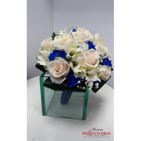 Buchet de mireasa minirose albastre