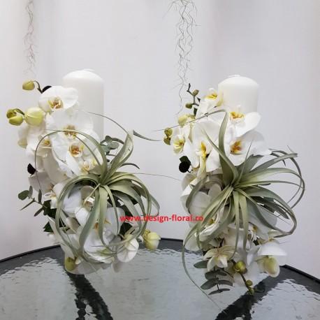 Lumanari nunta orhidee si Tillandsia Xerografica