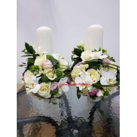 Lumanari nunta trandafiri si orhidee Phalaenopsis