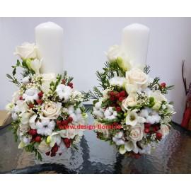 Lumanari nunta bumbac si trandafiri