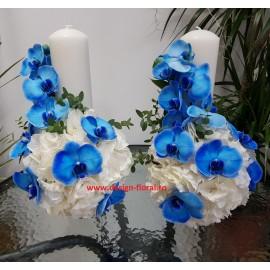 Lumanari nunta orhidee albastra si hortensie alba