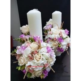 Lumanari nunta scurte pastelate