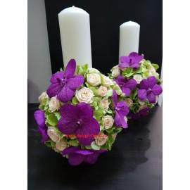 Lumanari nunta orhidee Vanda si Hortensie