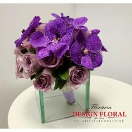 Buchet mireasa orhidee Vanda si trandafiri