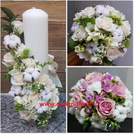 Pachet nunta bumbac si trandafiri