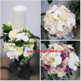 Pachet nunta orhidee Phalaenopsis si trandafiri