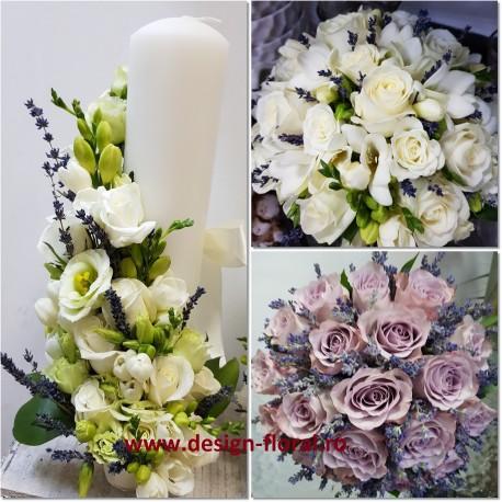 Pachet nunta lavanda si trandafiri