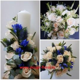 Pachet nunta gentiana si trandafiri