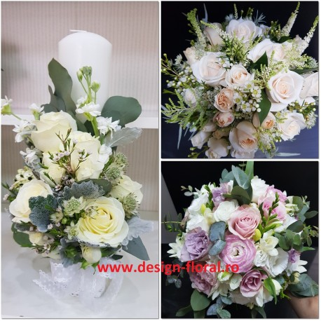 Pachet nunta mathiola si trandafiri