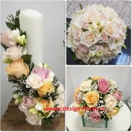 Pachet nunta trandafiri pastel