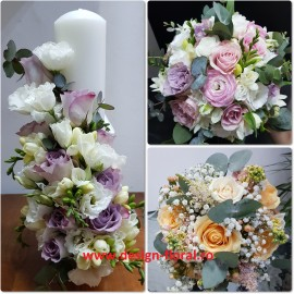 Pachet de nunta trandafiri lila