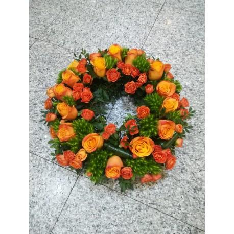 Coroana funerara trandafiri si minirose