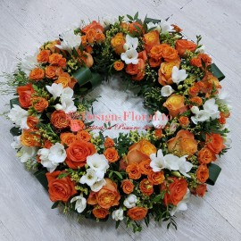 Coroana funerara trandafiri si frezii