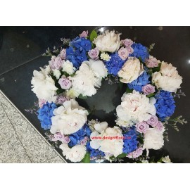Coroana funerara bujori si hortensie