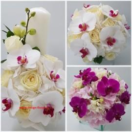Pachet cununie orhidee si trandafiri