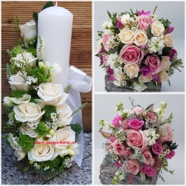 Pachet nunta trandafiri si Mathiola