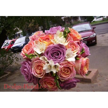 Buchet mireasa trandafiri Fiesta