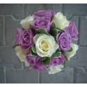 Buchet mireasa trandafiri albi si mov