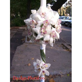 Lumanare de botez din orhidee Cymbidium alba